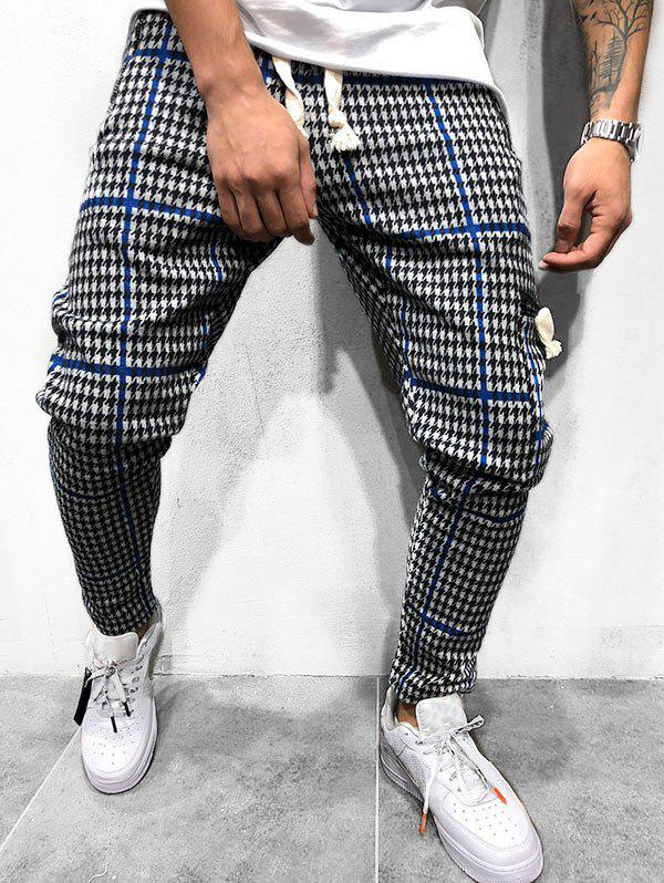 Houndstooth Pattern Casual Jogger Pants, Blue