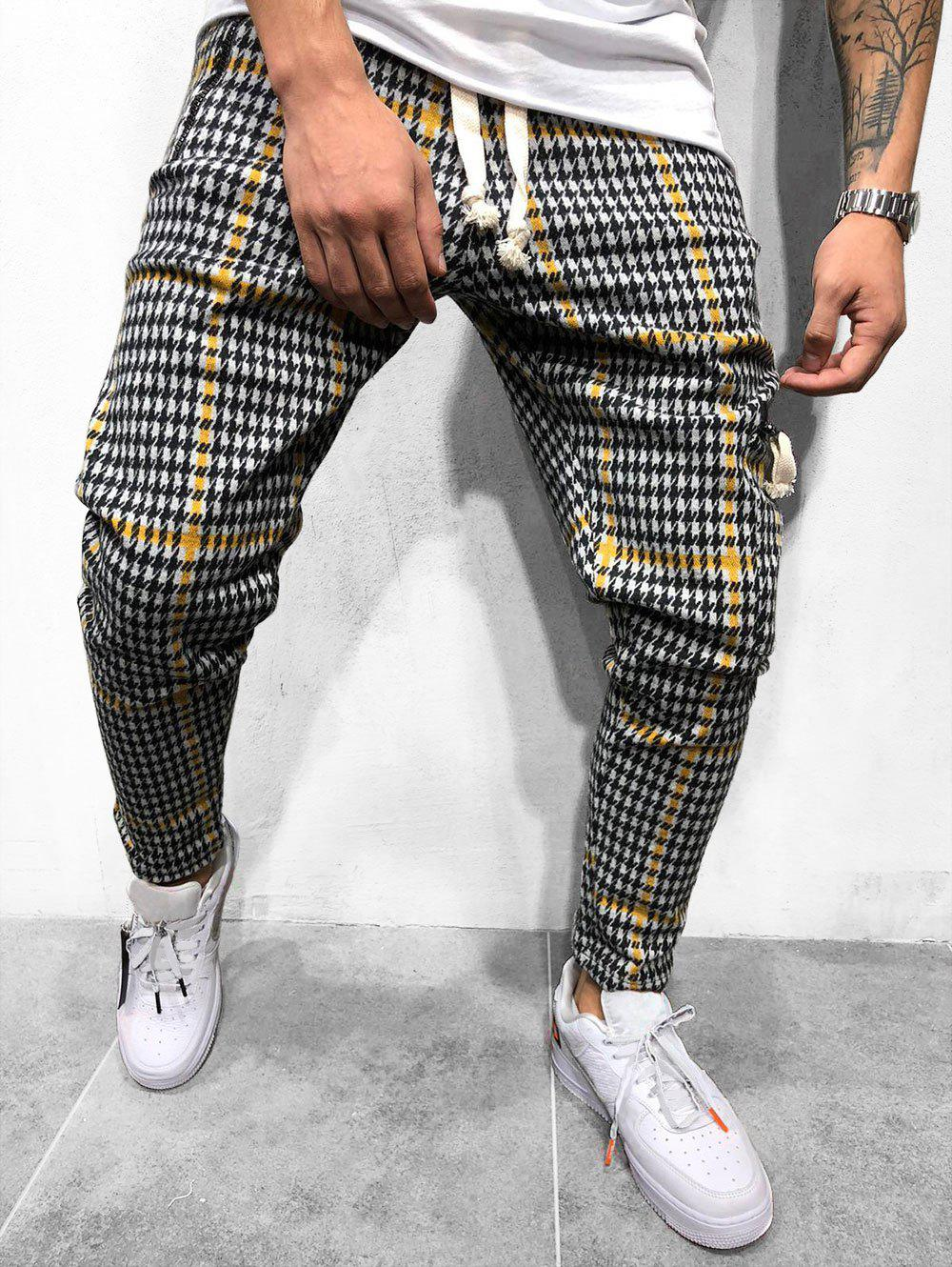 Chic Houndstooth Pattern Casual Jogger Pants