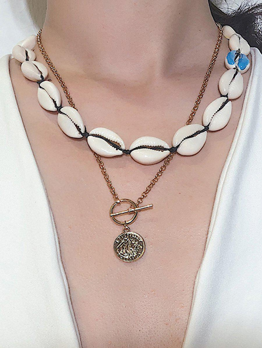 Fashion Asymmetrical Shell Coin Layered Necklace