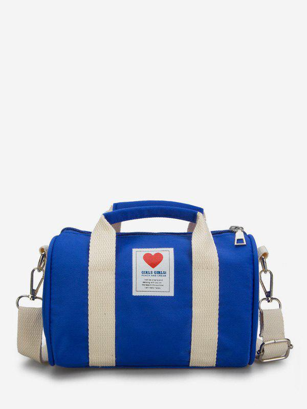 Store Heart Print Canvas Cylinder Bag