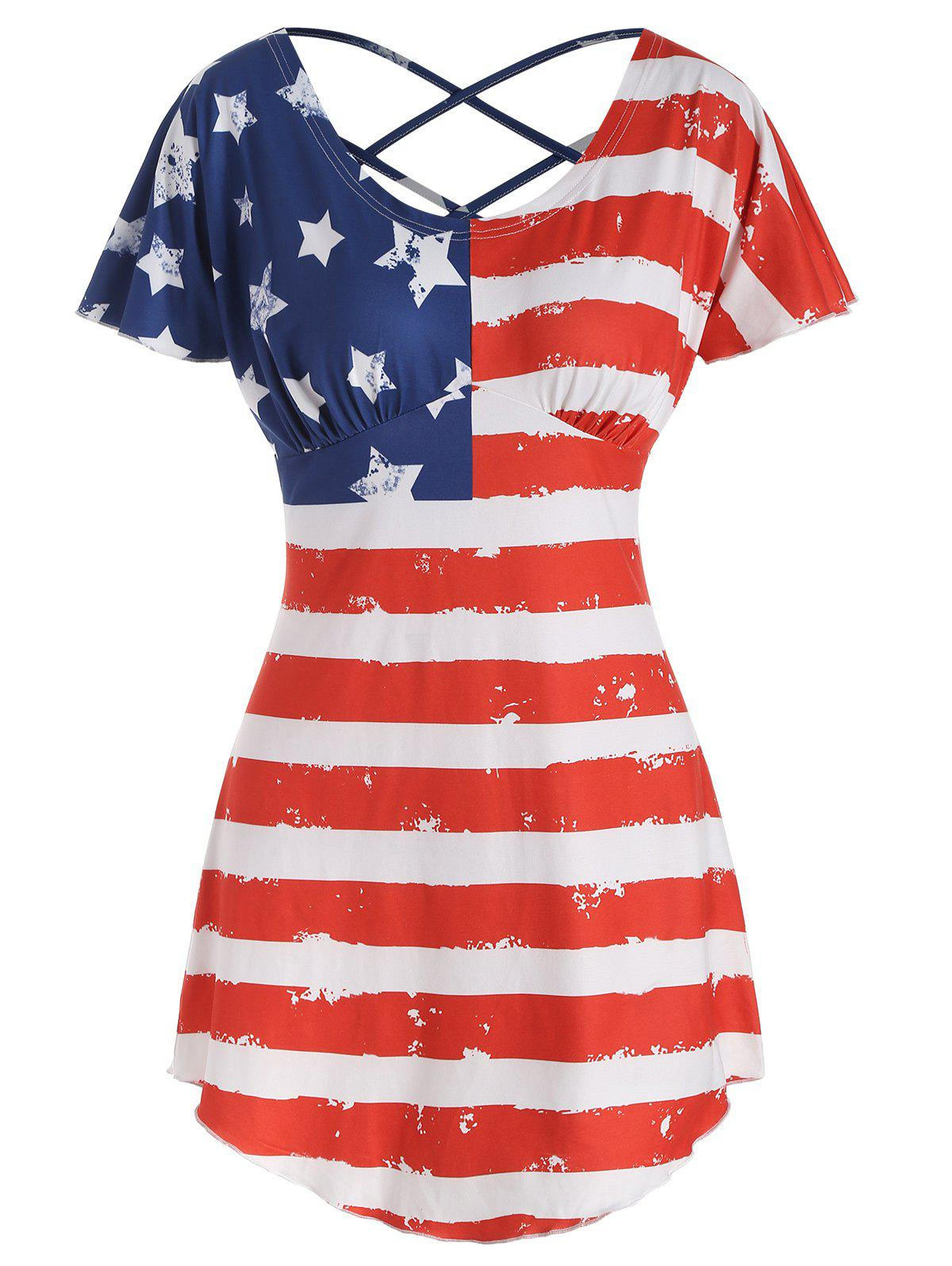 Shop American Flag Butterfly Sleeve T-shirt