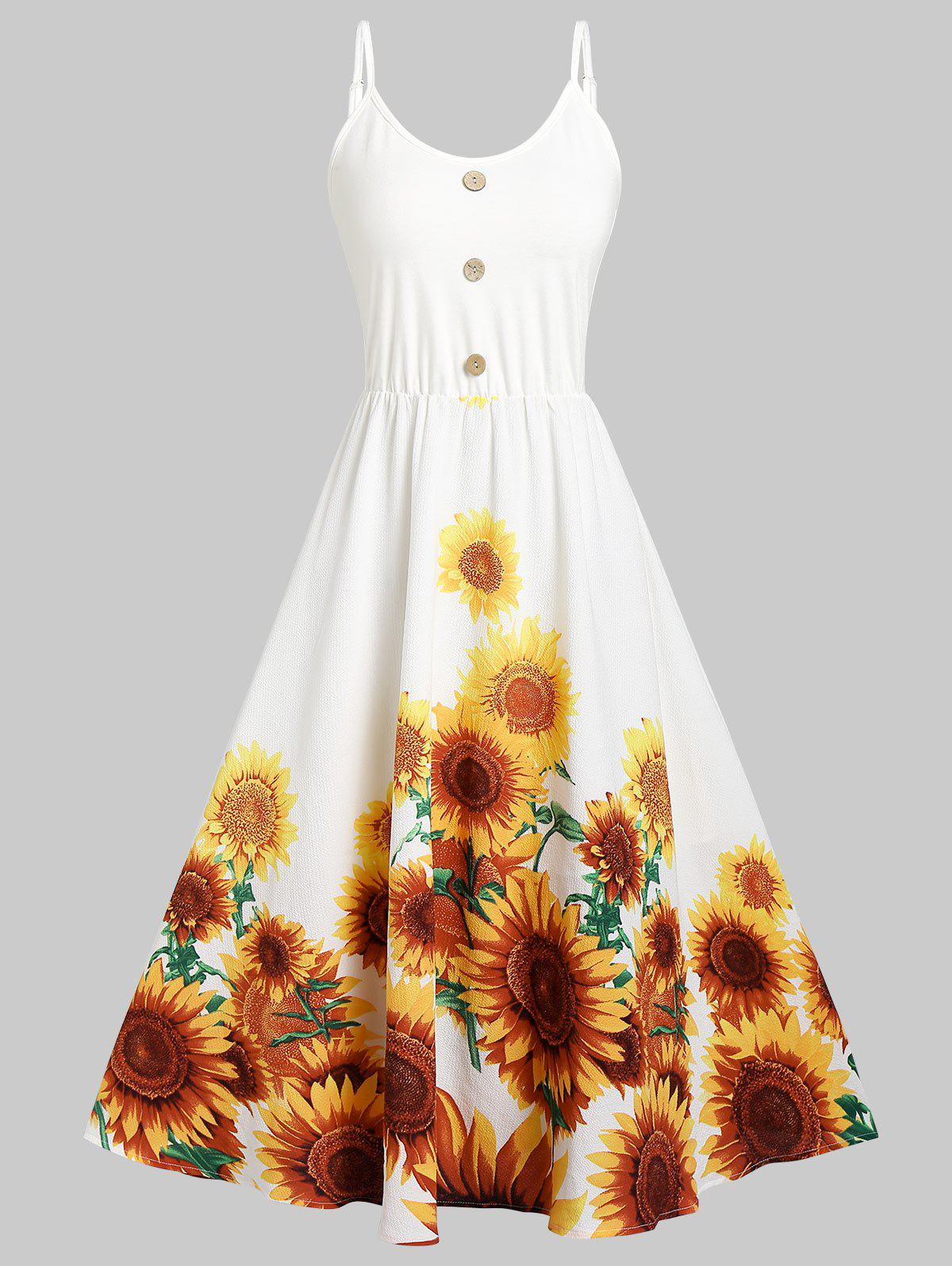 Cheap Cami Sunflower Print Button Dress