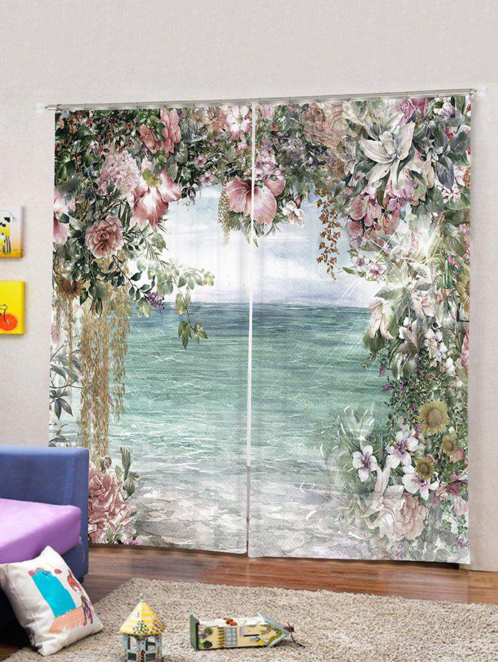 Discount 2 Panels Lakeside Flowers Print Window Curtains