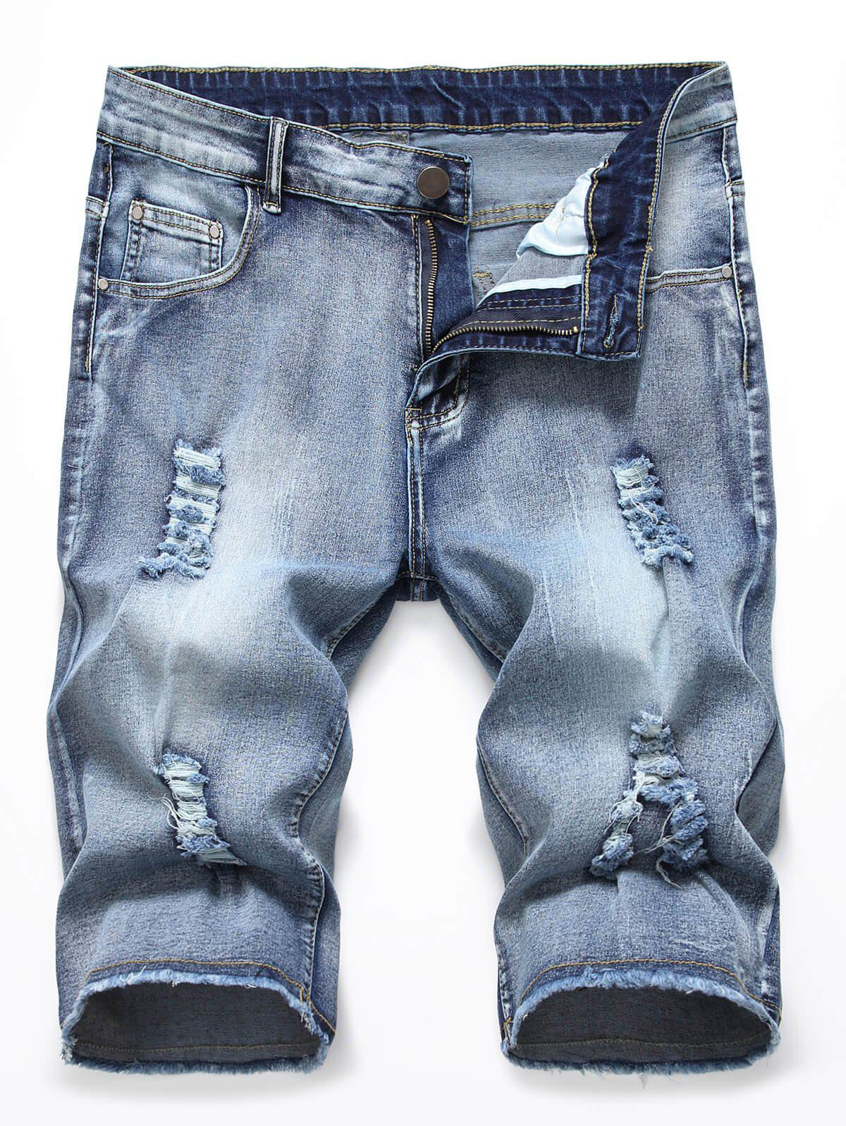 Best Zipper Fly Design Ripped Jeans Shorts
