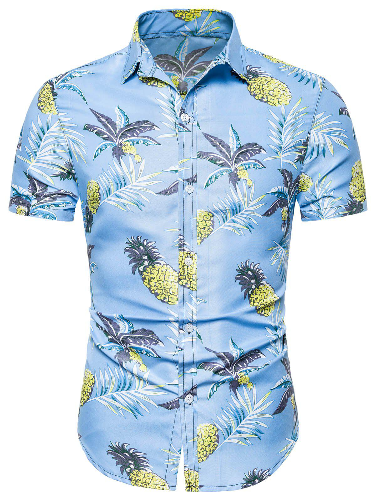 Affordable Pineapple Printed Leisure Short Sleeves Shirt