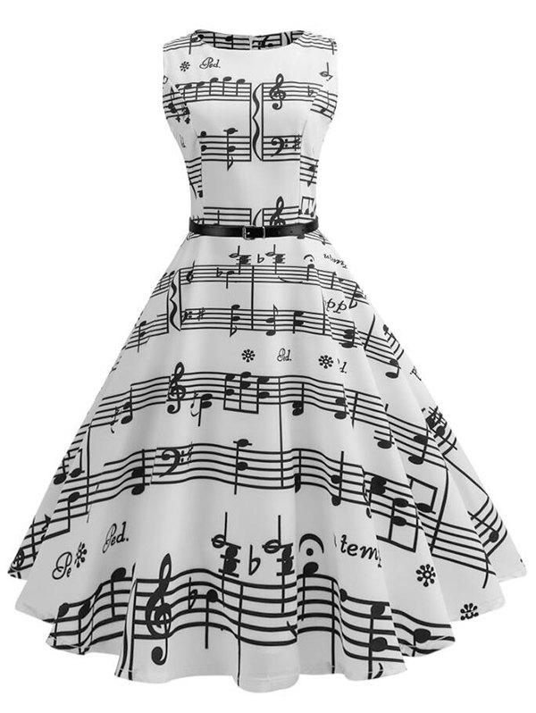 Unique Musical Notes Sleeveless Vintage Belted Dress