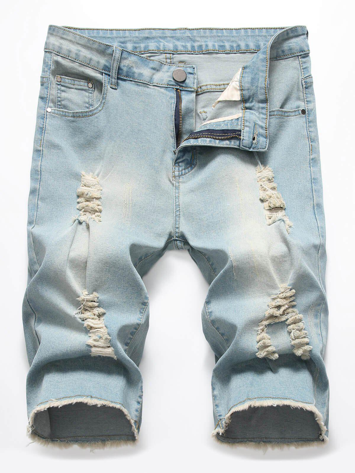 Sale Zipper Fly Casual Ripped Jeans Shorts