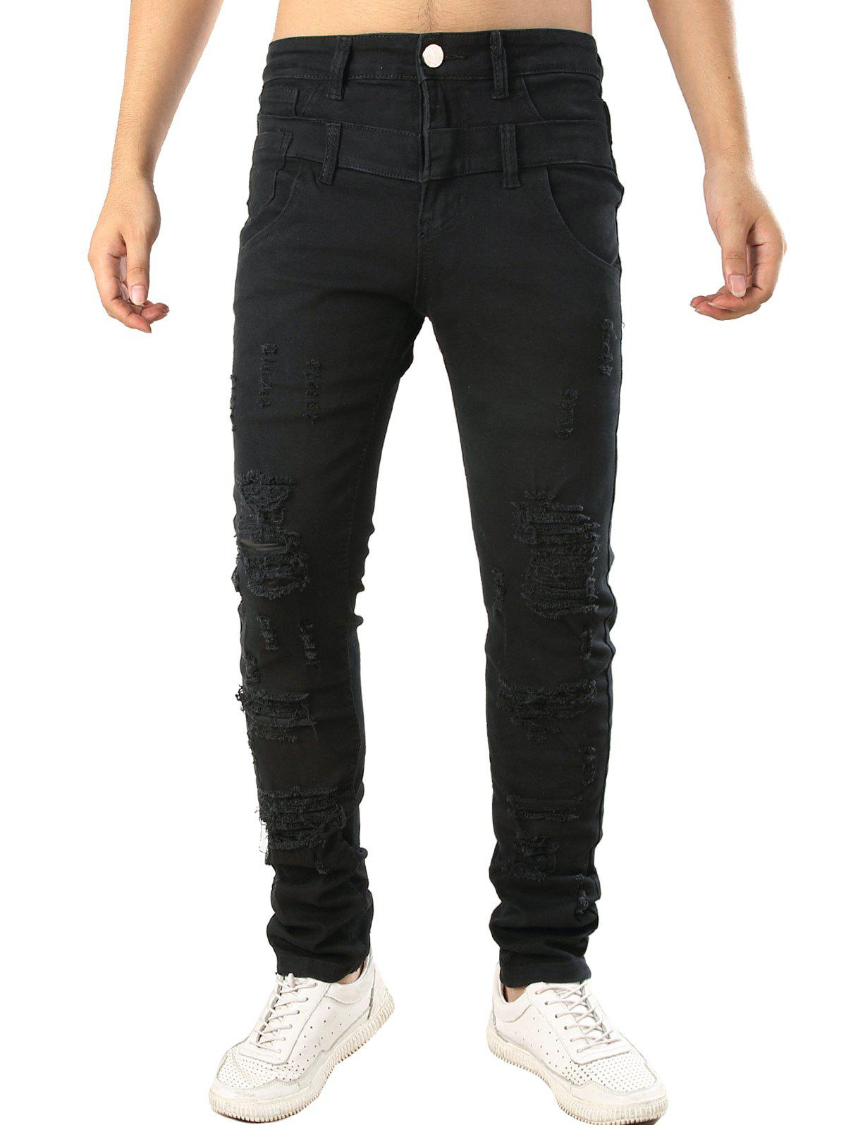 Hot Zip Fly Design Casual Ripped Jeans