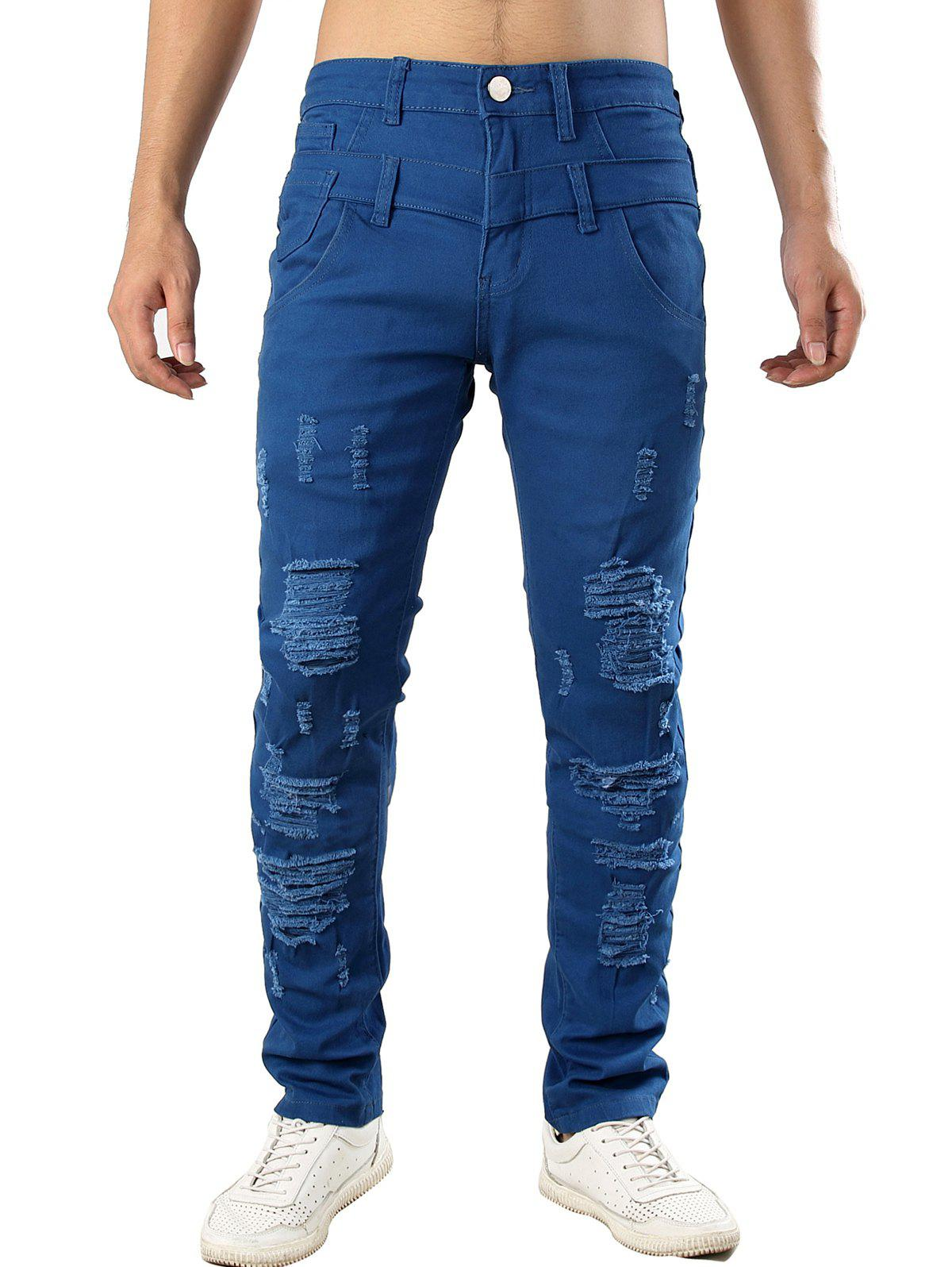 Cheap Zip Fly Design Casual Ripped Jeans