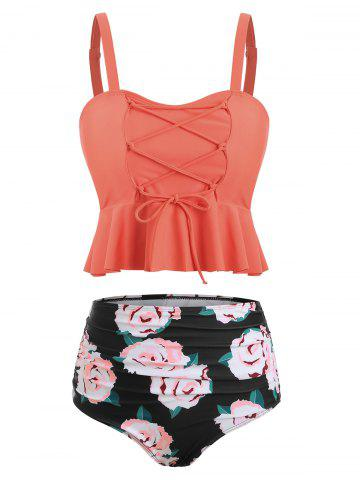Ruched Floral Print Tankini Set