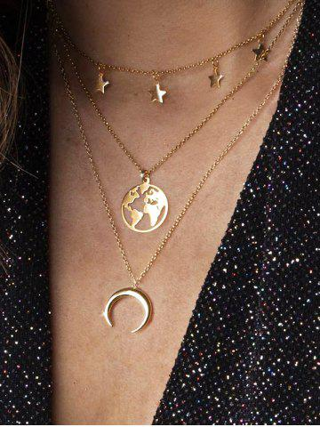 Moon Star Map Layered Necklace