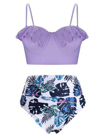 Plus Size Tropical Print Ruffled Bikini Set