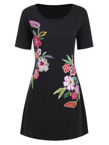 Flower Graphic Casual Tee Dress
