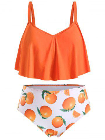 Ensemble de Tankini Orange Imprimée de Grande Taille à Volants