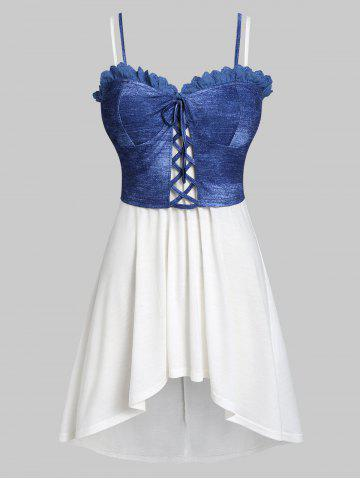 18b95a53d89 Plus Size High Low Tank Top with Lace Up Waistcoat
