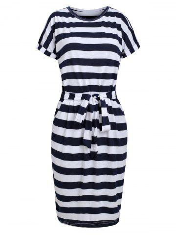 Tie Waist Striped Pocket Casual Dress