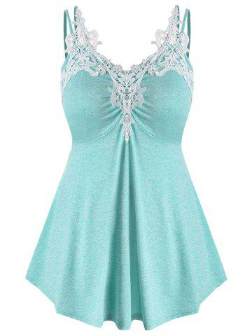 Plus Size Marled Contrast Lace Tank Top