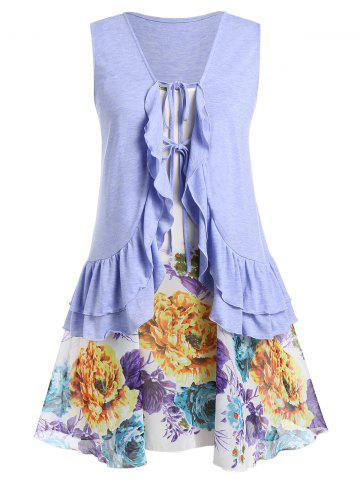 Plus Size Flounced Tank Top With Floral Swing Cami