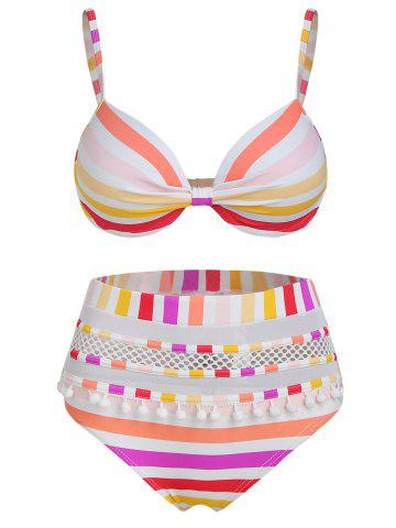 Pompoms Hollow Out Striped Bikini Set