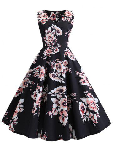 V Neck Flower Retro Dress
