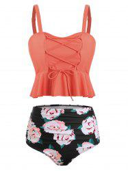 Ruched Floral Print Tankini Set -