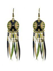 Exotic Feather Beaded Drop Earrings -