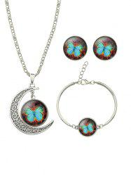 Vintage Moon Round Butterfly Jewelry Set -