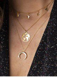 Moon Star Map Layered Necklace -