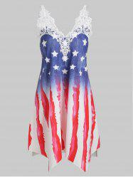 Crochet Panel American Flag Cami Plus Size Dress -