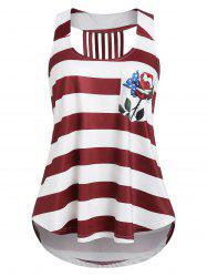 American Flag Print Tunic U Neck Tank Top -