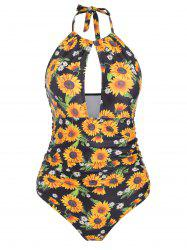 Cut Out Ruched Sunflower Swimsuit -