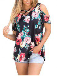 Crisscross Floral Cold Shoulder Top -