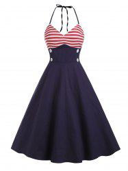 Buttons American Flag Print Halter Flare Dress -