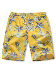 Hawaii Pineapple Print Board Shorts -