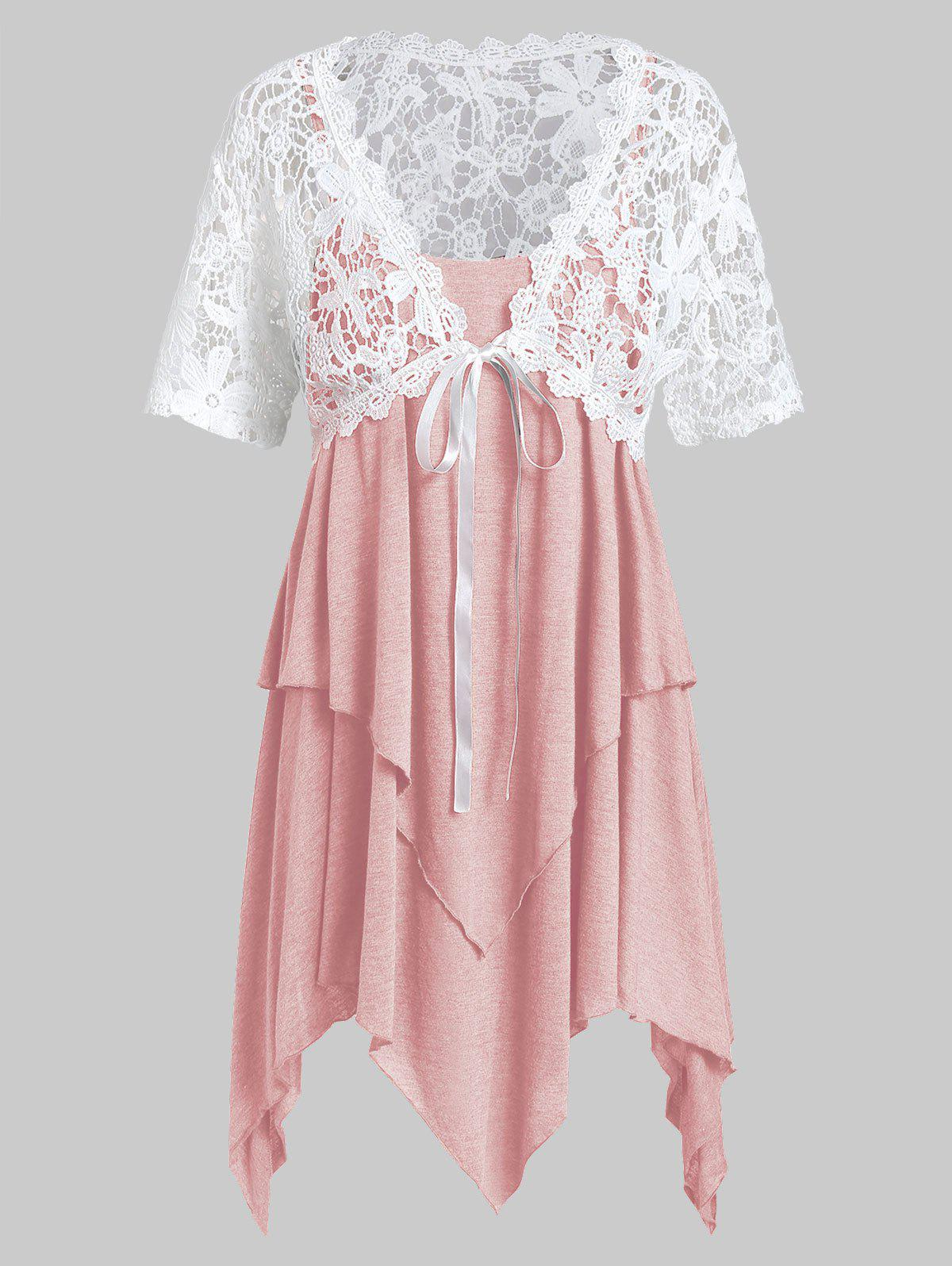 Plus Size Lace Top With Handkerchief Layered Cami Top Twinset