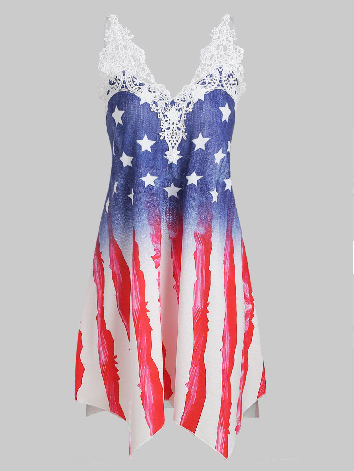 Fancy Crochet Panel American Flag Cami Plus Size Dress