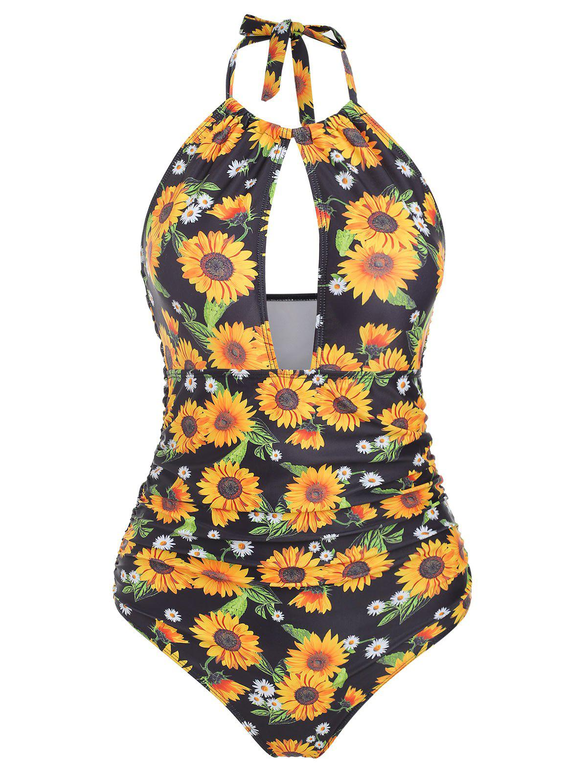 Online Cut Out Ruched Sunflower Swimsuit
