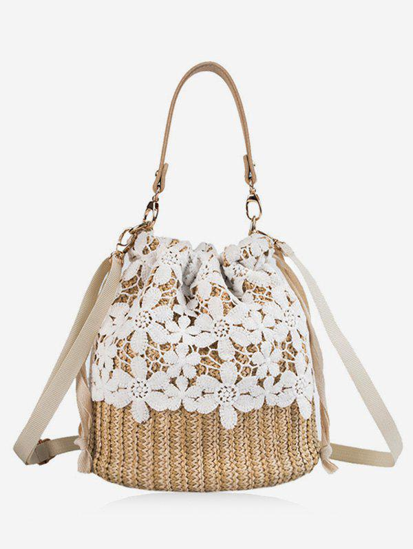 Cheap Lace Decor Straw Bucket Bag