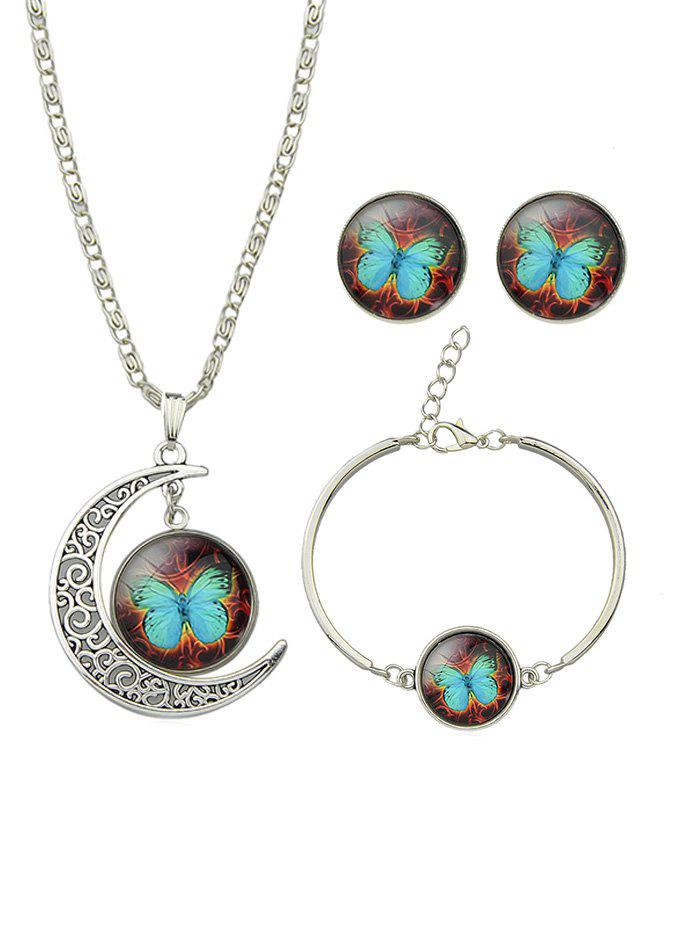 Fashion Vintage Moon Round Butterfly Jewelry Set
