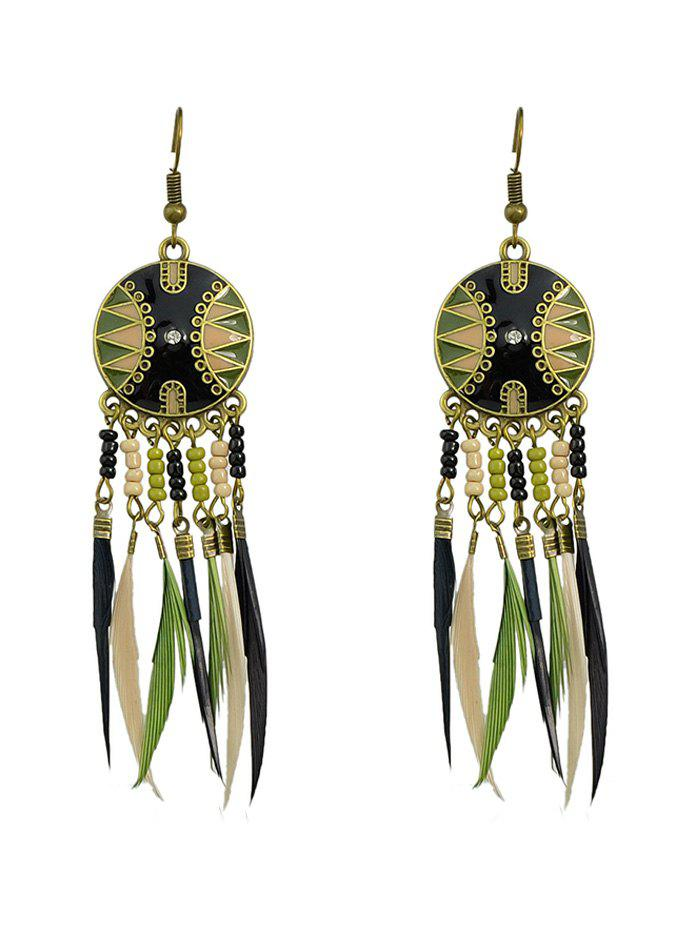 Latest Exotic Feather Beaded Drop Earrings
