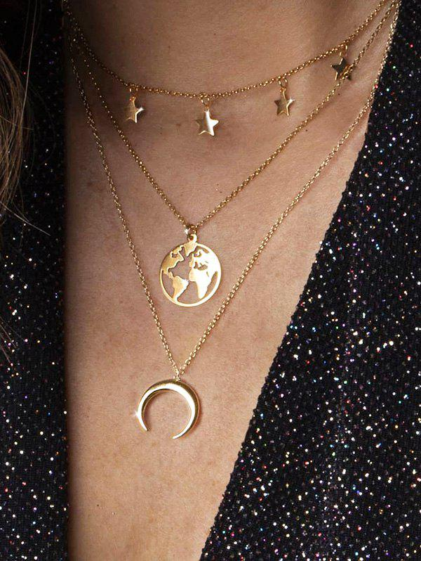 Cheap Moon Star Map Layered Necklace