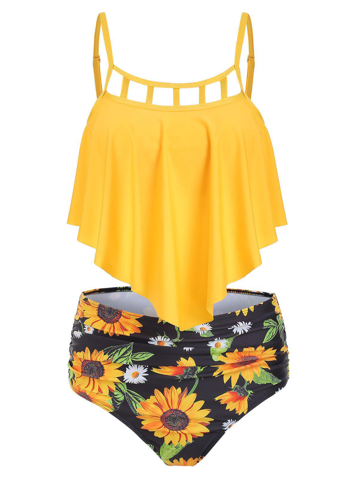 Chic Ruched Sunflower Overlay Tankini Set