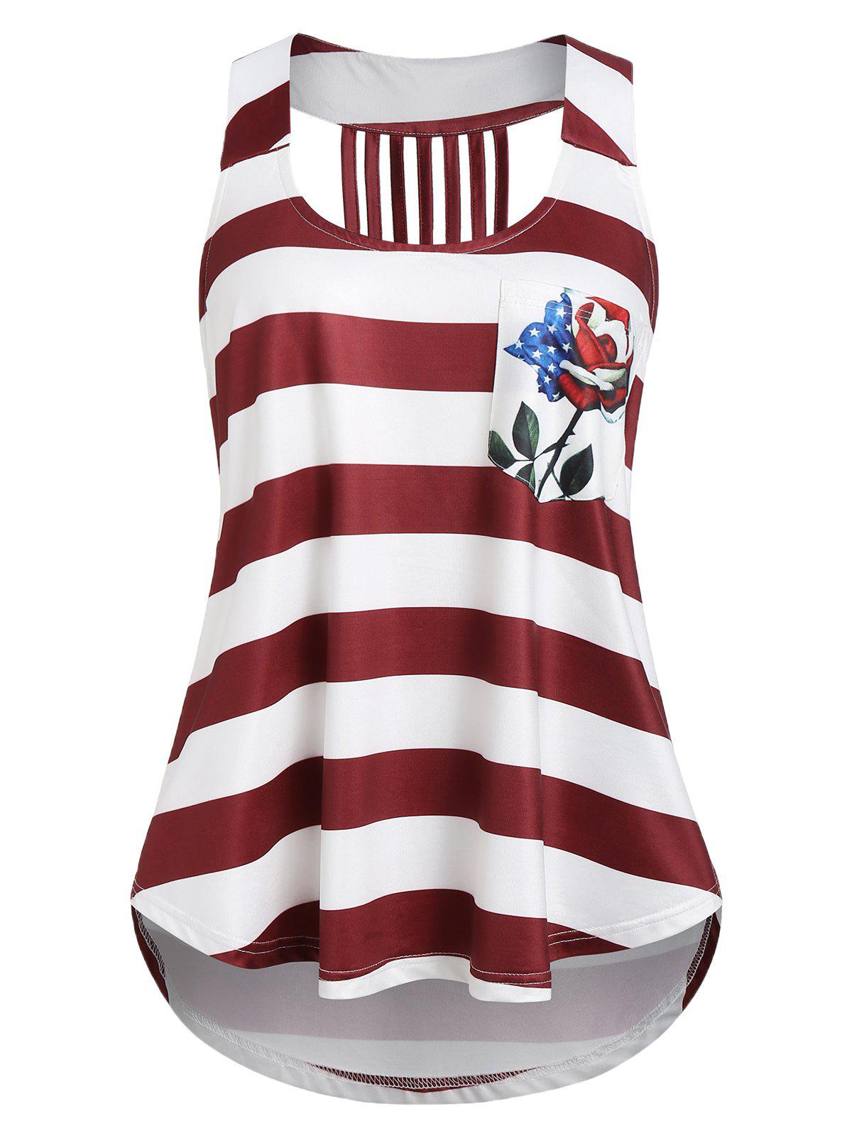 Hot American Flag Print Tunic U Neck Tank Top