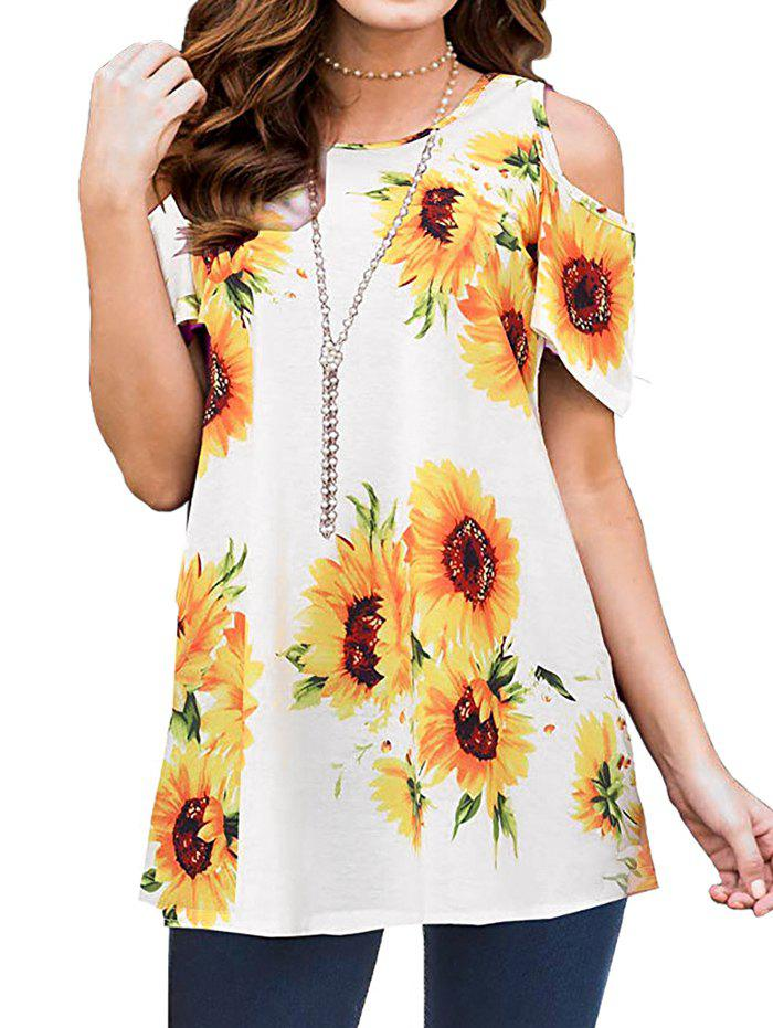 New Sunflower Open Shoulder Tunic T-shirt