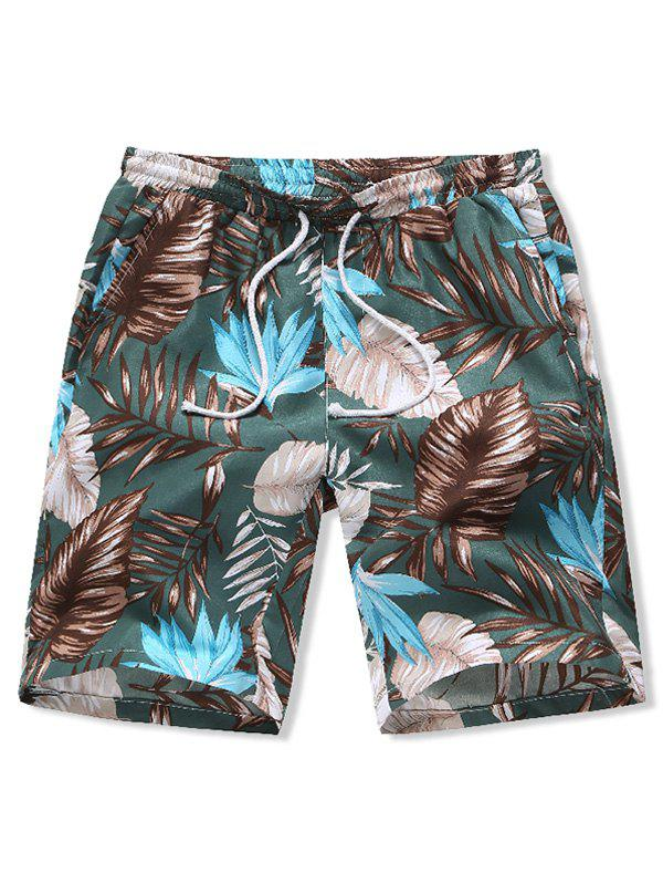 Chic Leaves Print Board Shorts
