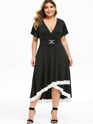 Rhinestone High Low Surplice Plus Size Dress