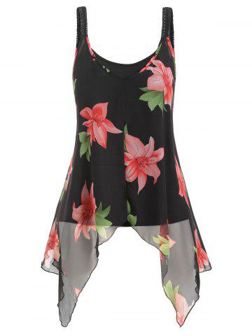 Plus Size Camisole and Floral Handkerchief Tank Top