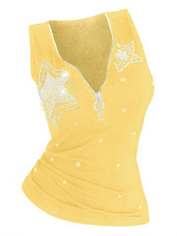 Star Rhinestone Embellished Plus Size Half Zip Tank Top