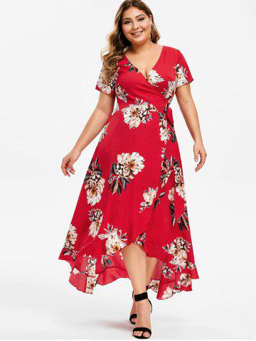 Plus Size Surplice High Low Printed Dress
