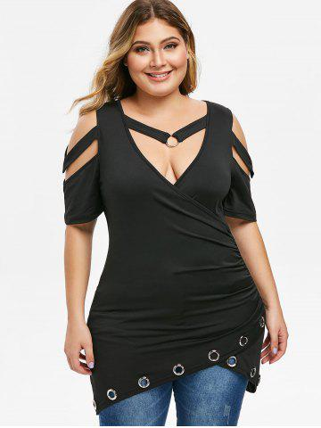 Plus Size O Rings Cut Out Ruched T-shirt
